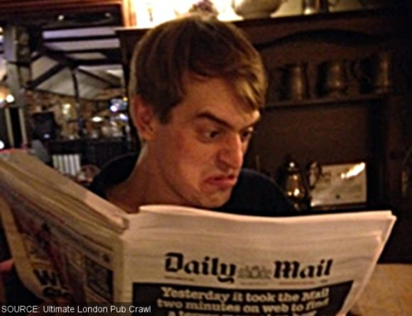Andy reads the Daily Mail in Chorleywood.