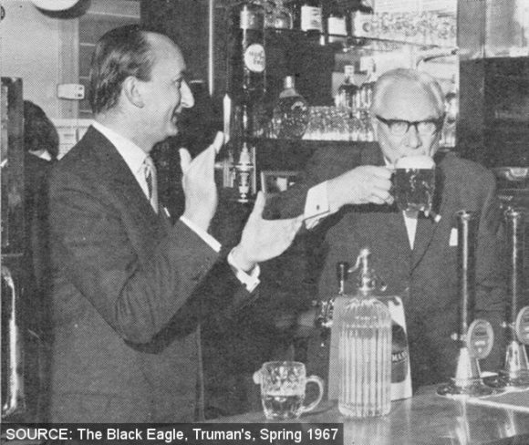 F.G. Hall drinks the first pint at the Elephant in 1967.
