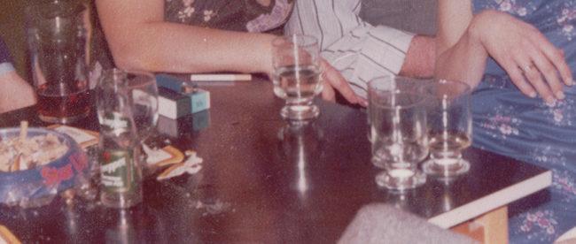 Detail: a 1970s pub table.