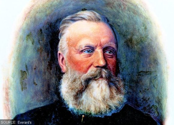 Painting of a bearded Victorian.