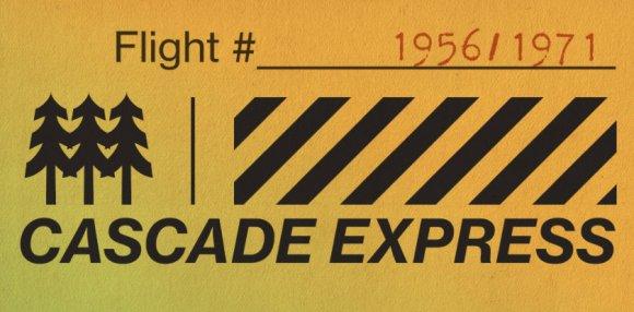 Cascade Express -- hop-themed boarding card.
