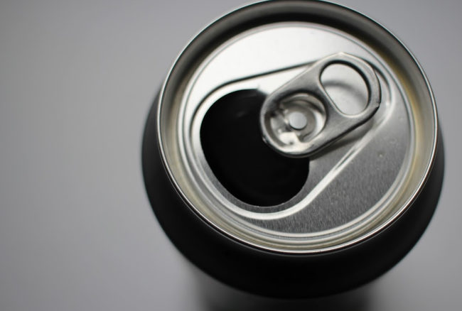 Anonymous beer can viewed from above.