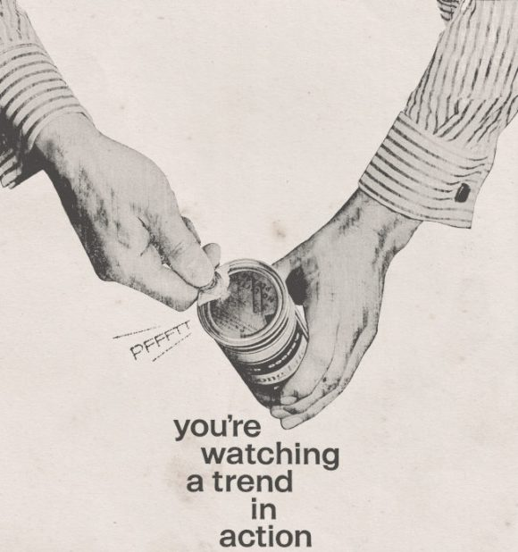 """Detail from lager ad, 1961: """"You're watching a trend grow."""""""