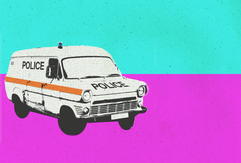 ILLUSTRATION: 1980s police van.