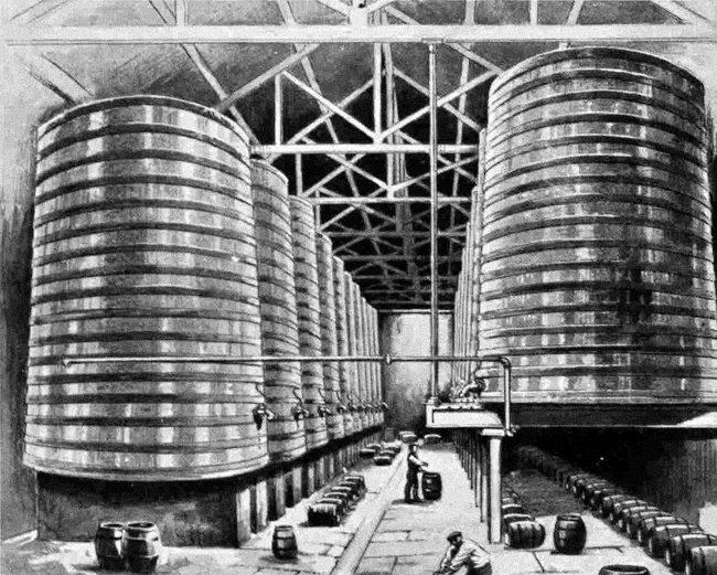 Beer maturing in vats.