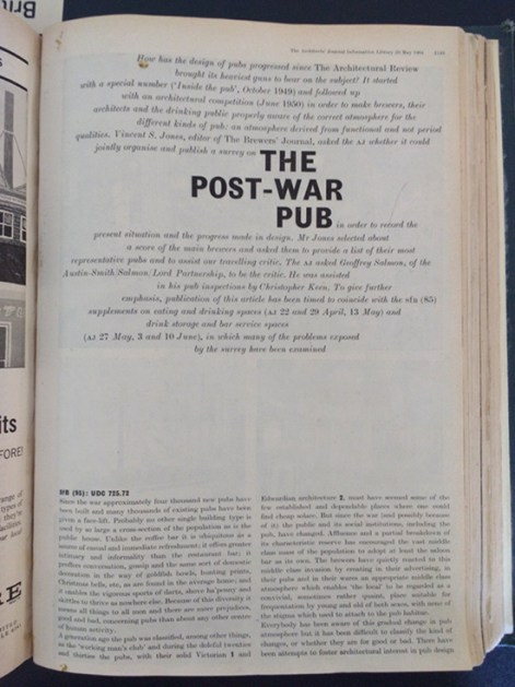 Title page: The Post-War Pub.