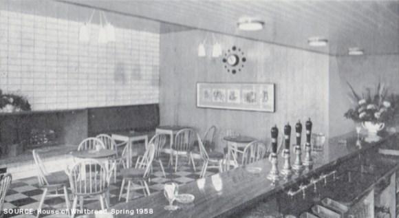 Pub interior in mid-century modern style.