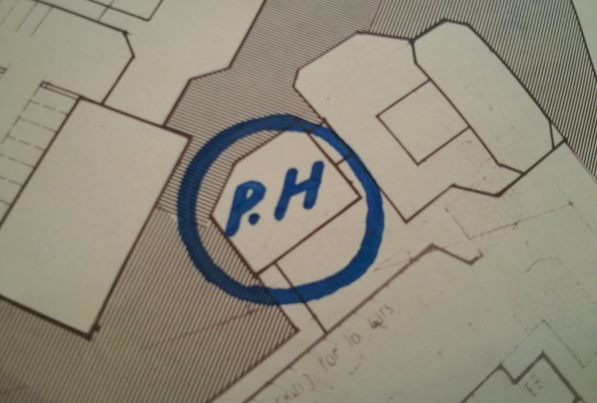 """Map with marker pen: """"PH"""" (public house)"""