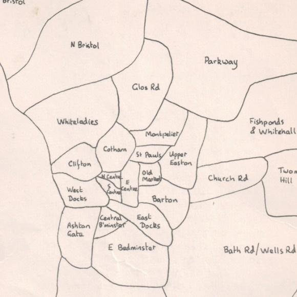 Hand-drawn map of Bristol.