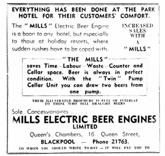 Mills Electric Beer Engine advertisement.