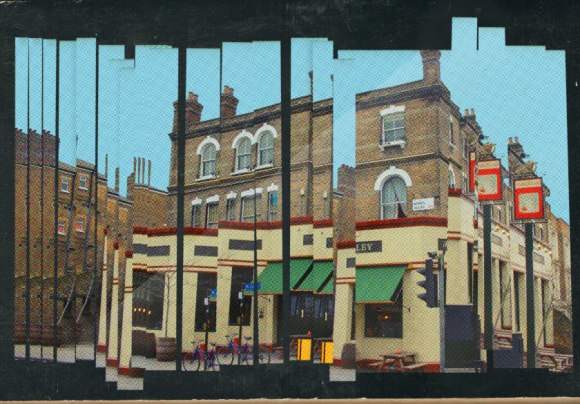 Collage: a fractured pub.