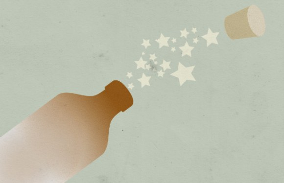 Illustration: a cork flies out of a stone bottle.