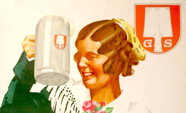 Woman drinking beer from a vintage Spaten advert.