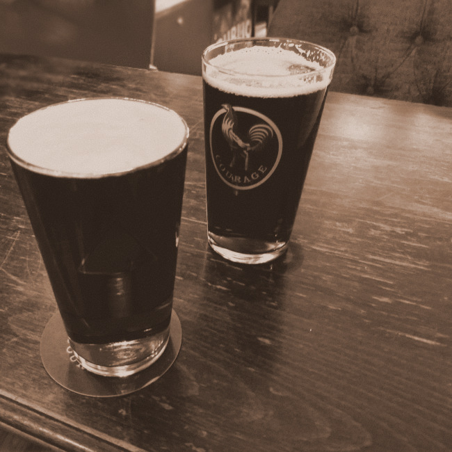Two pints of Courage Best.