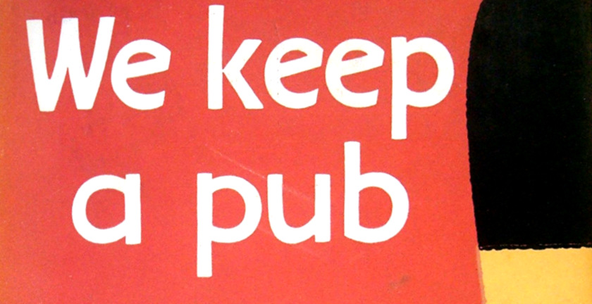 "Detail from the cover of ""We Keep a Pub""."