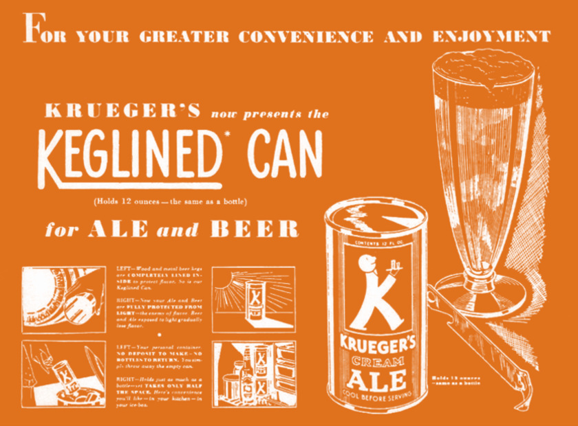 Ad for keglined cans, 1935.