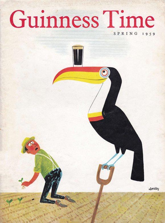 A toucan balances a pint glass on its beak.