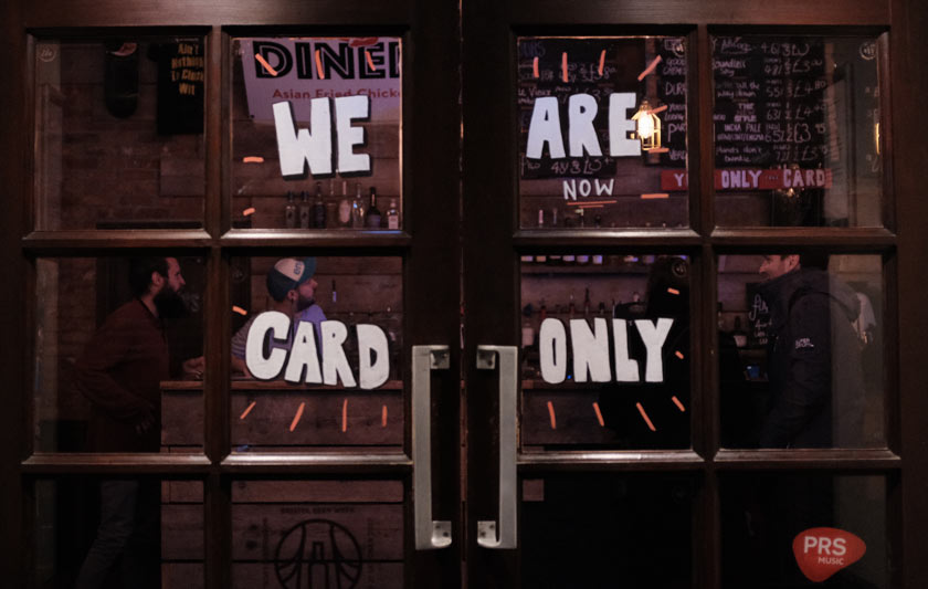 """We are card only"" -- sign on a pub door."