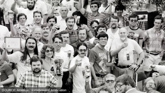 American homebrewers in a vintage photo.