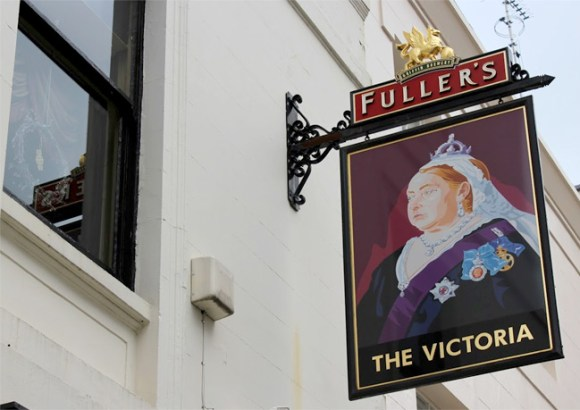 The sign of the Victoria, a Fuller's pub in Paddington.