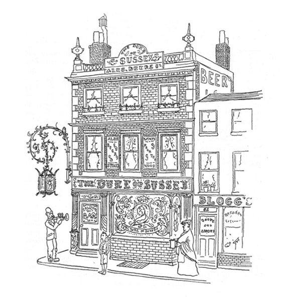 A drawing of a Victorian pub.