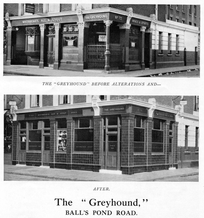 The Greyhound, Balls Pond Road, before and after modernisation.