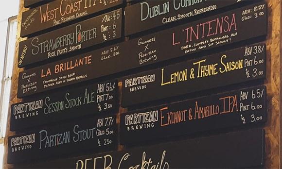 Partizan menu at Guinness