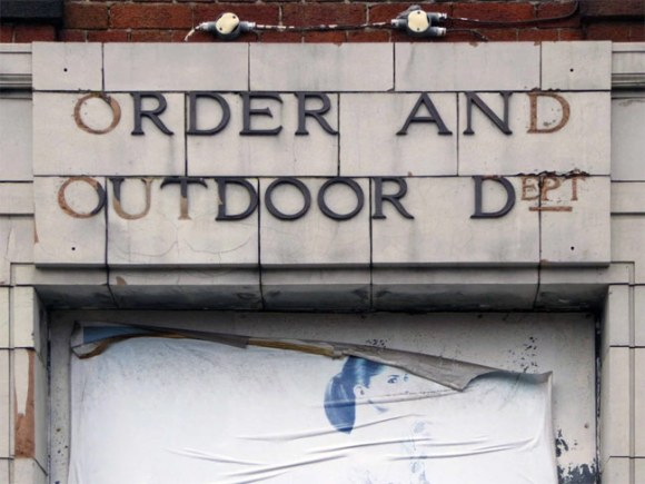 Order and Outdoor Dept. sign.