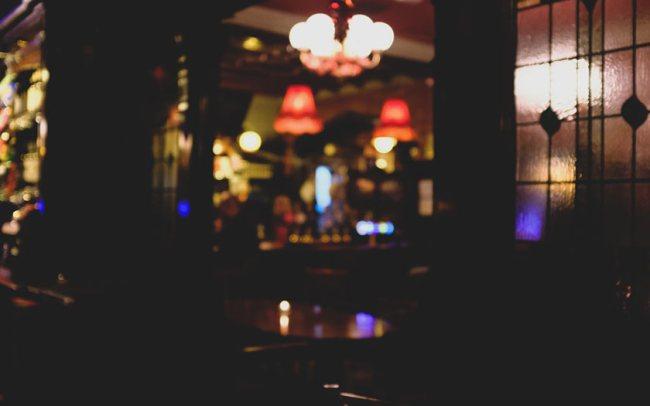 Lights twinkling in a pub.