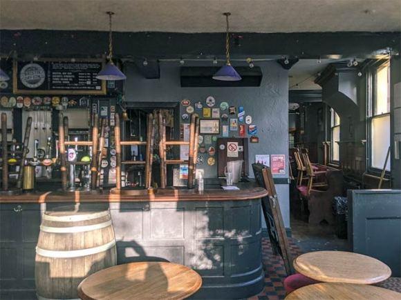 A shuttered pub.