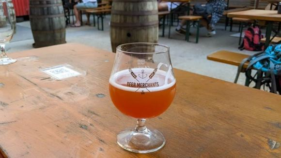 Lambic in a glass.