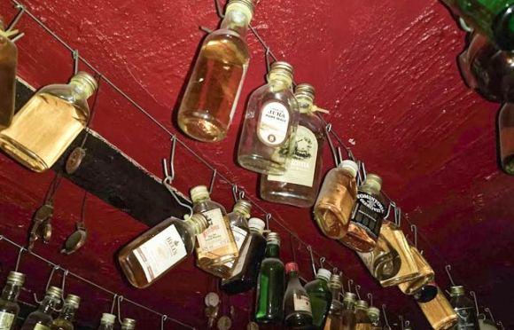 Whisky bottles.