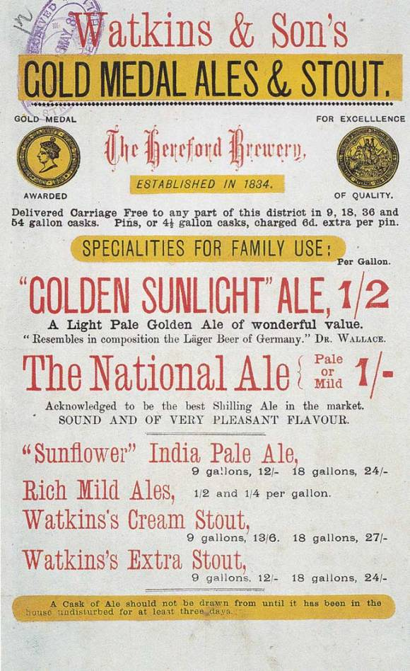 """Golden Sunlight"" Ale, A light pale golden ale of wonderful value."