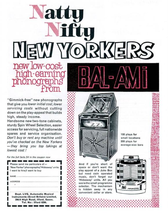 An advertisement for Bal-Ami jukeboxes.
