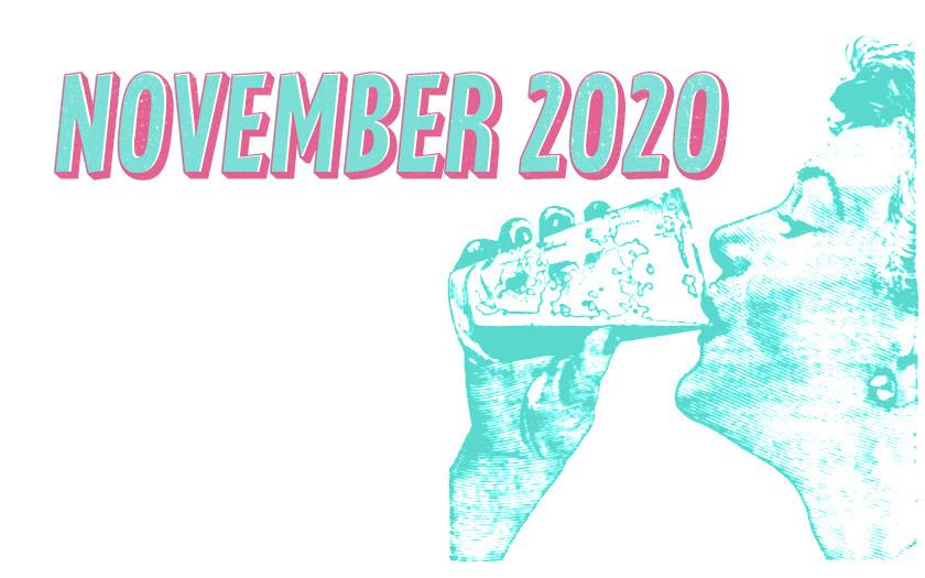 November 2020: a woman drinks stout.