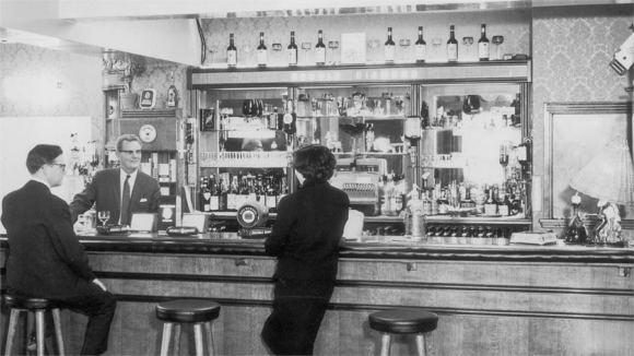 The bar of a pub.