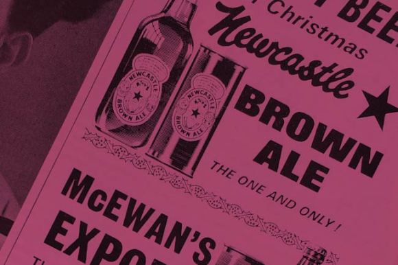 A vintage ad for Newcastle Brown Ale.