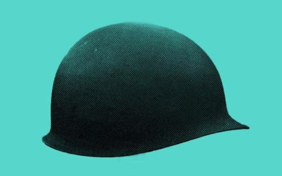 An American M1 helmet.