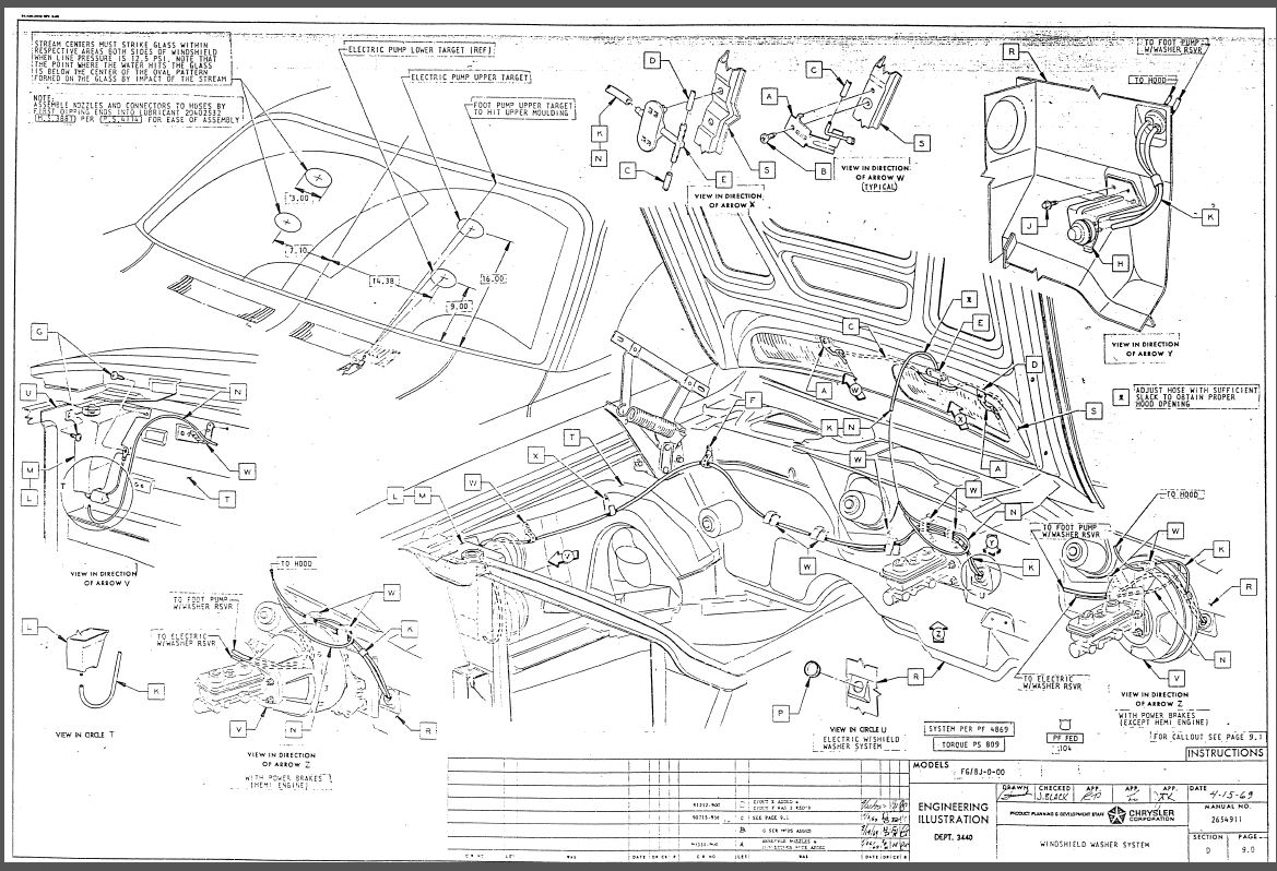 70 E Body under hood wiring/squirter hose locations