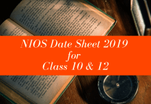 NIOS Date Sheet 2019 for Class 10 & 12