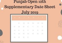 Punjab Open 12th Supplementary Date Sheet July 2019