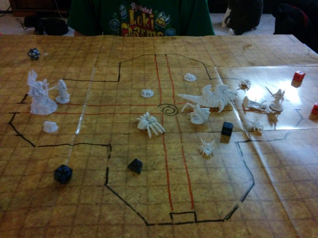 After defeating the crocodile and angering the troglodyte druid leader, a swarm of spiders is summoned to attack us.