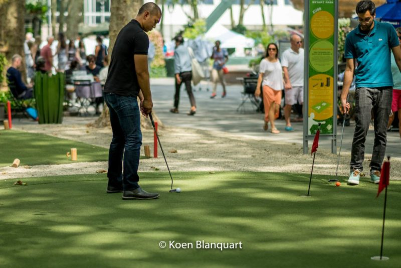 Putting greens in Bryant Park