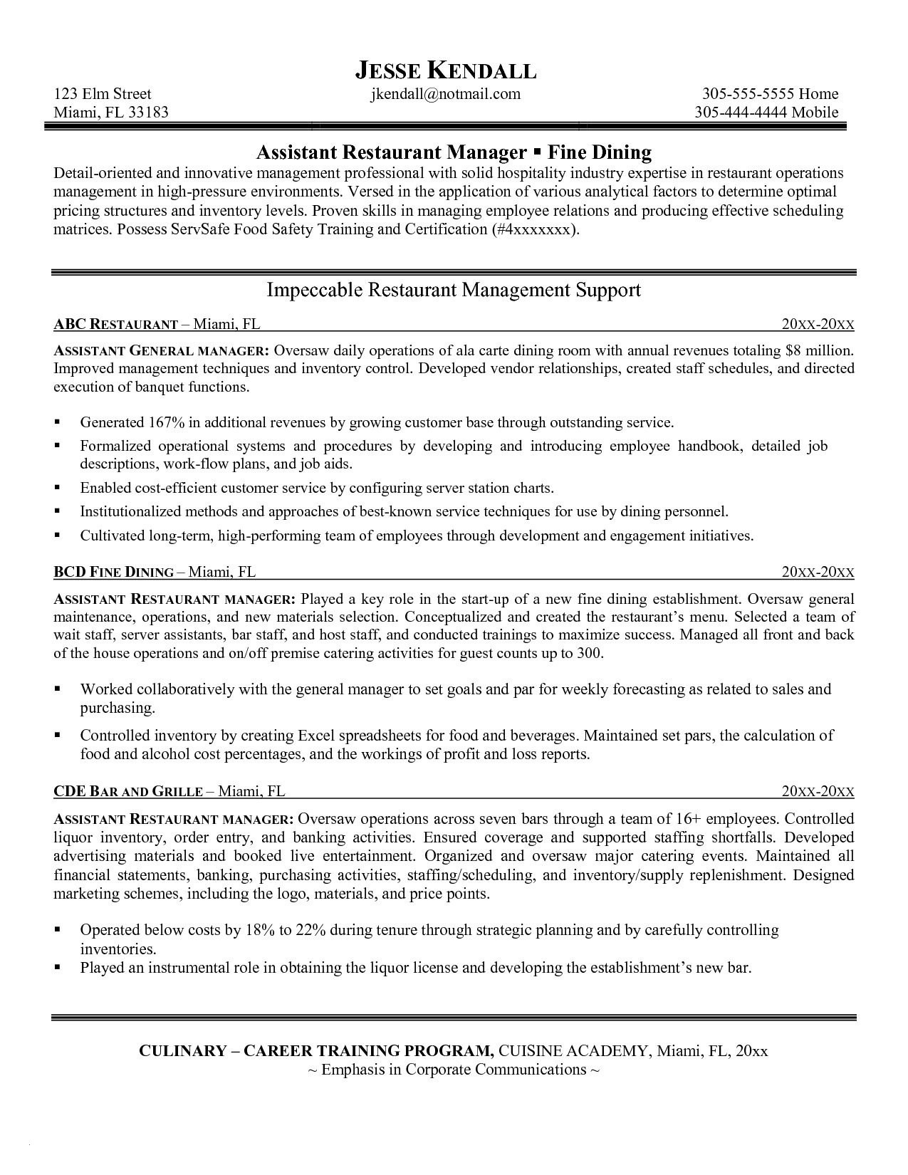8 Assistant Manager Resume Template Examples
