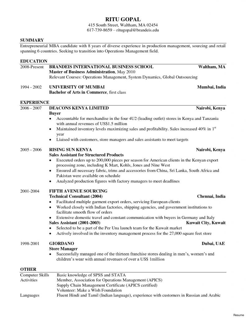 kelley business resume template