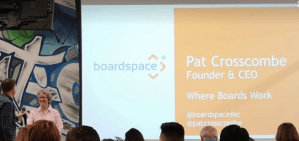 Pat Crosscombe pitching BoardSpace to judges and the audience marking the end of the First Cohort of the Pre-Accelerator Program.