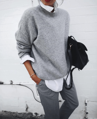 gray sweater merino wool fashion