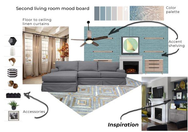 Living room e-design mood board