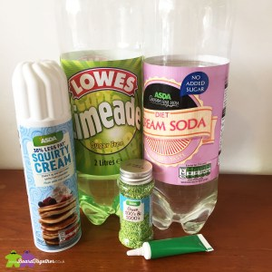 Ingredients needed to make the Yoda Soda drink