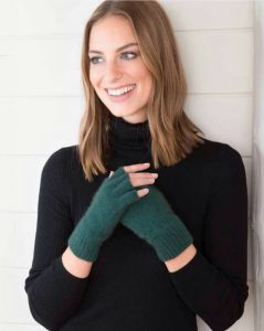 Fingerless gloves worn by model